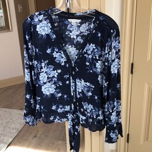 American Eagle Sheer Floral Button Down